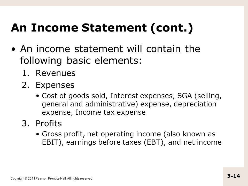 An Income Statement (cont.)