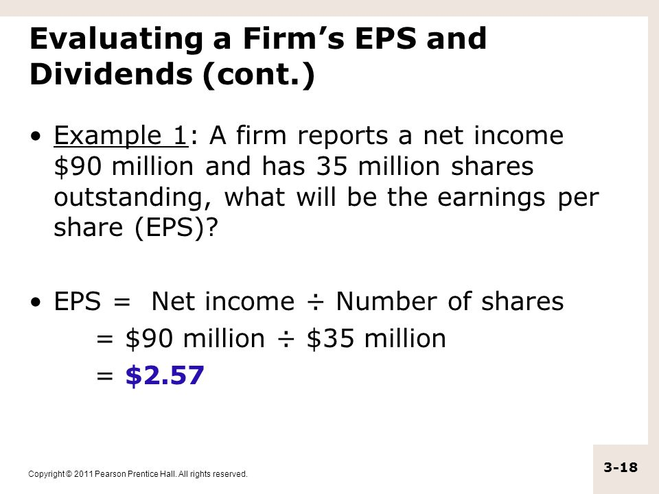 Evaluating a Firm's EPS and Dividends (cont.)