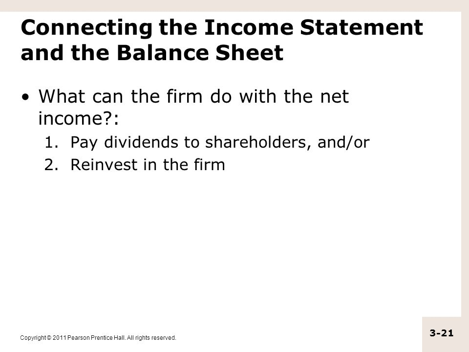Connecting the Income Statement and the Balance Sheet