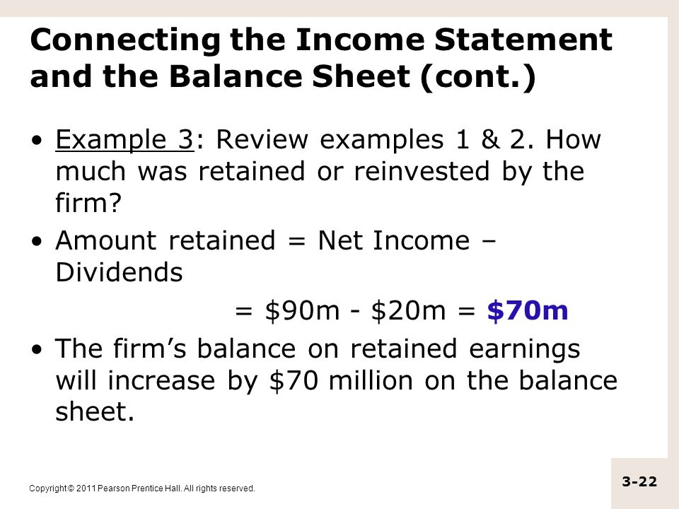 Connecting the Income Statement and the Balance Sheet (cont.)