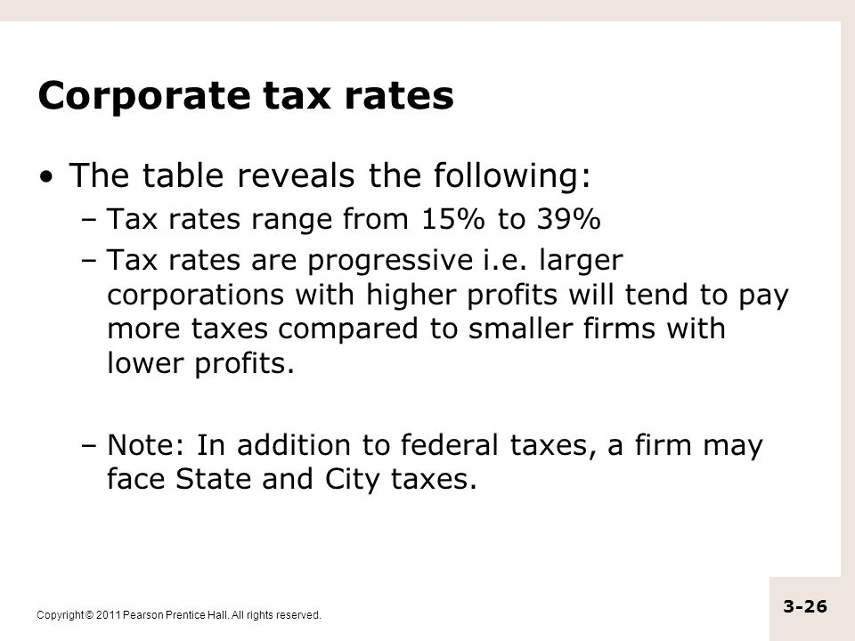 Corporate tax rates The table reveals the following: