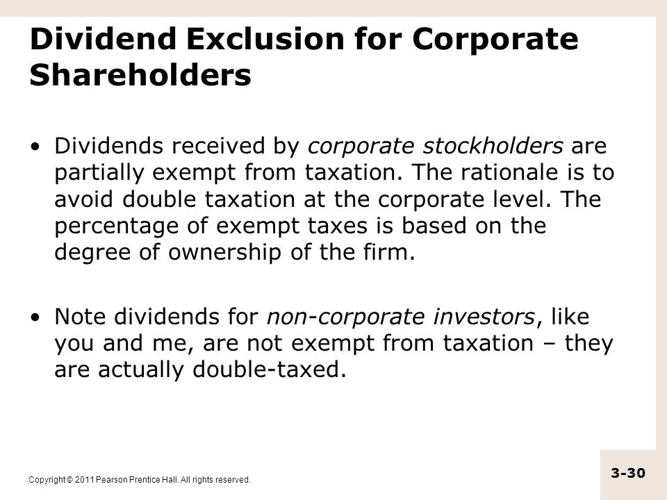 Dividend Exclusion for Corporate Shareholders