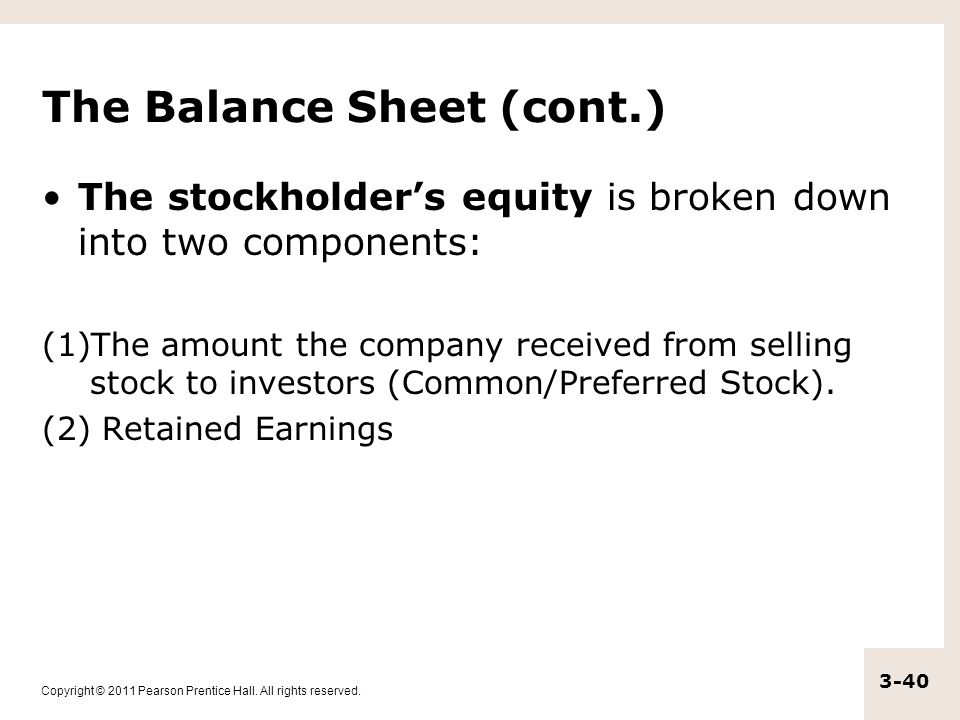 The Balance Sheet (cont.)