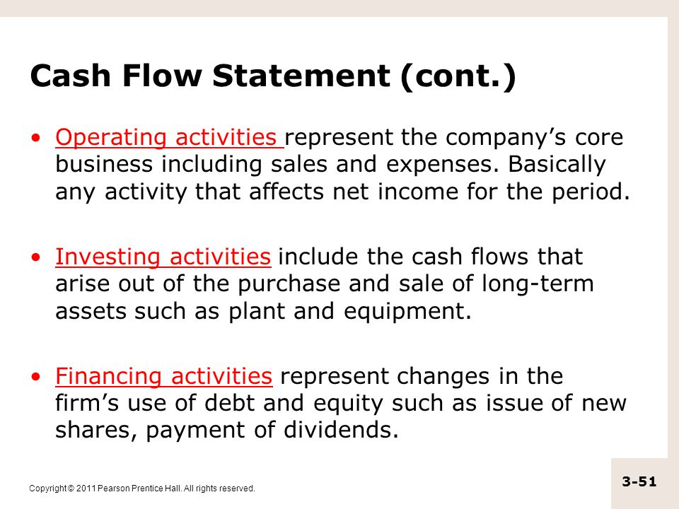 Cash Flow Statement (cont.)
