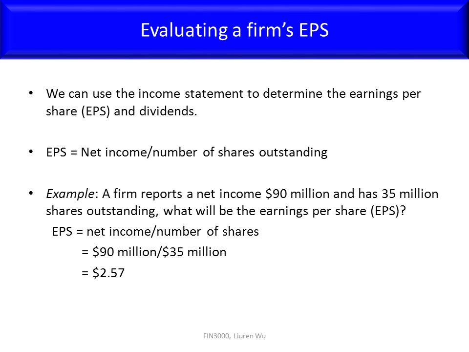 Evaluating a firm's EPS