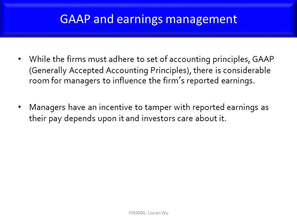 GAAP and earnings management