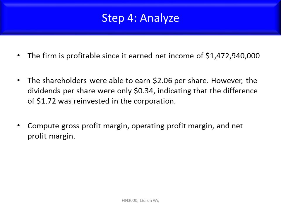 Step 4: Analyze The firm is profitable since it earned net income of $1,472,940,000.