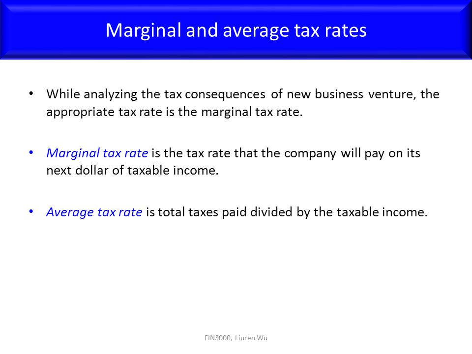 Marginal and average tax rates
