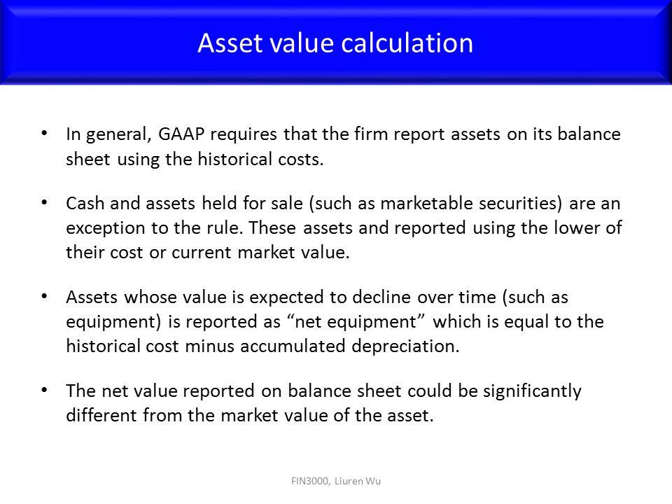 Asset value calculation