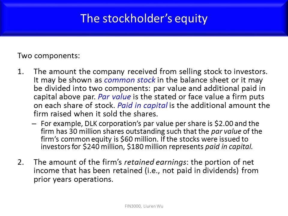 The stockholder's equity