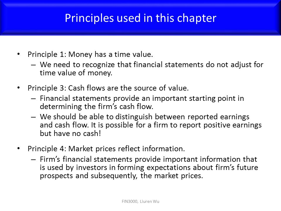 Principles used in this chapter