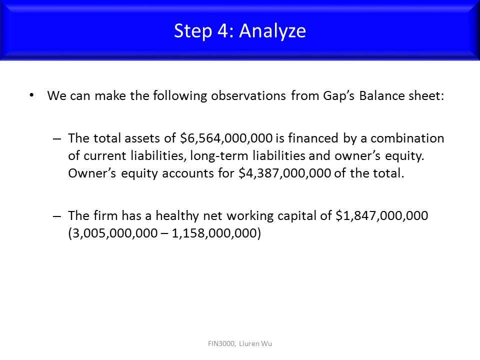 Step 4: Analyze We can make the following observations from Gap's Balance sheet: