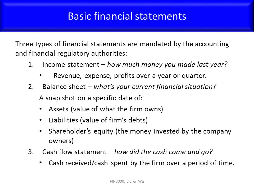 Financial Statement Types Primary Types Of Financial Statements