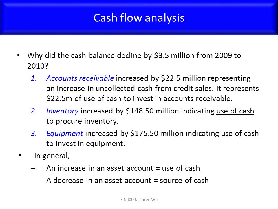 Cash flow analysis Why did the cash balance decline by $3.5 million from 2009 to 2010