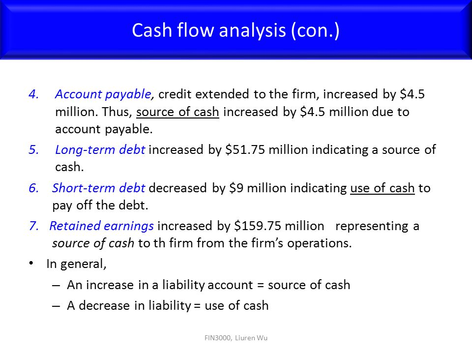 Cash flow analysis (con.)