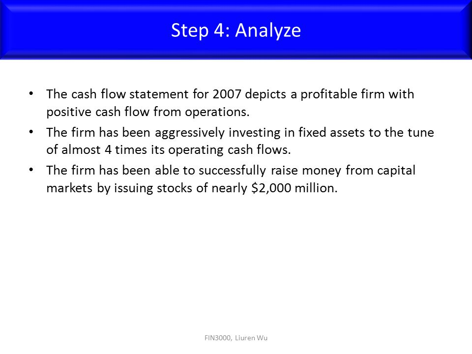 Step 4: Analyze The cash flow statement for 2007 depicts a profitable firm with positive cash flow from operations.