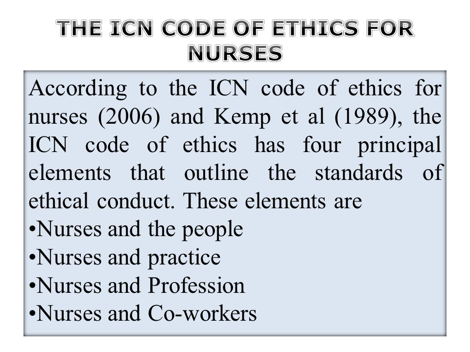 the code of ethics for nurses essay Nursing ethics: a look at the code of ethics by: raymond lengel, fnp, msn, rn in 2001, a code of ethics was presented for nurses and is considered the.