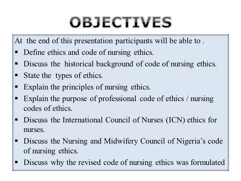 code ethics nursing Read the american nurses association's code of ethics ana code of ethics provision 1 the nurse practices with compassion and respect for the inherent dignity, worth, and unique attributes of every person.