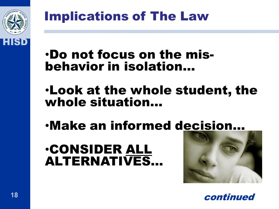 Implications of The Law