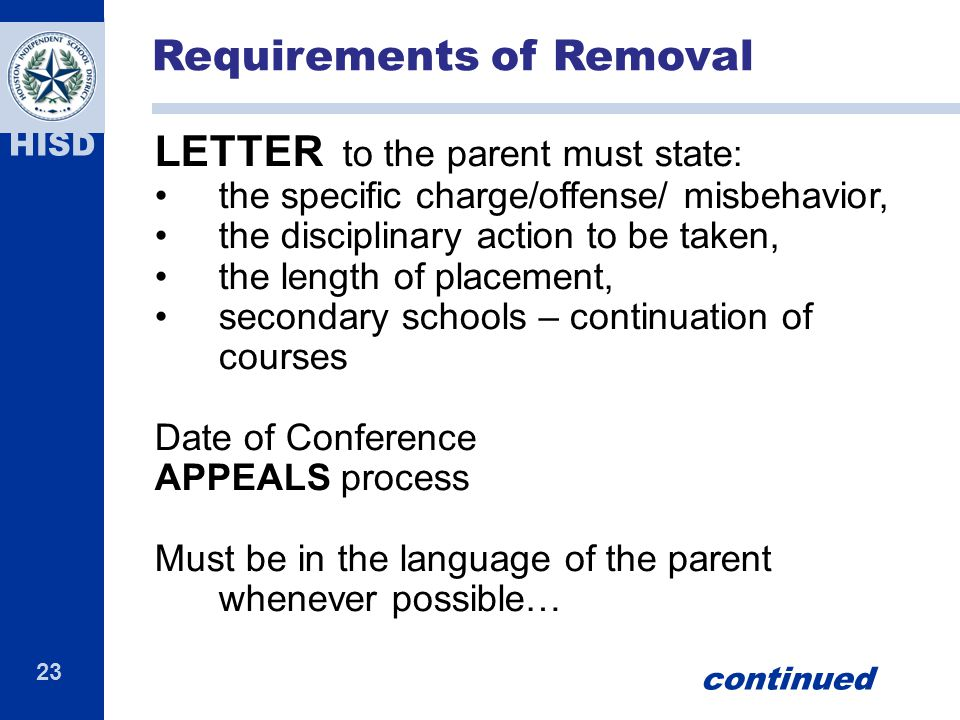 Requirements of Removal