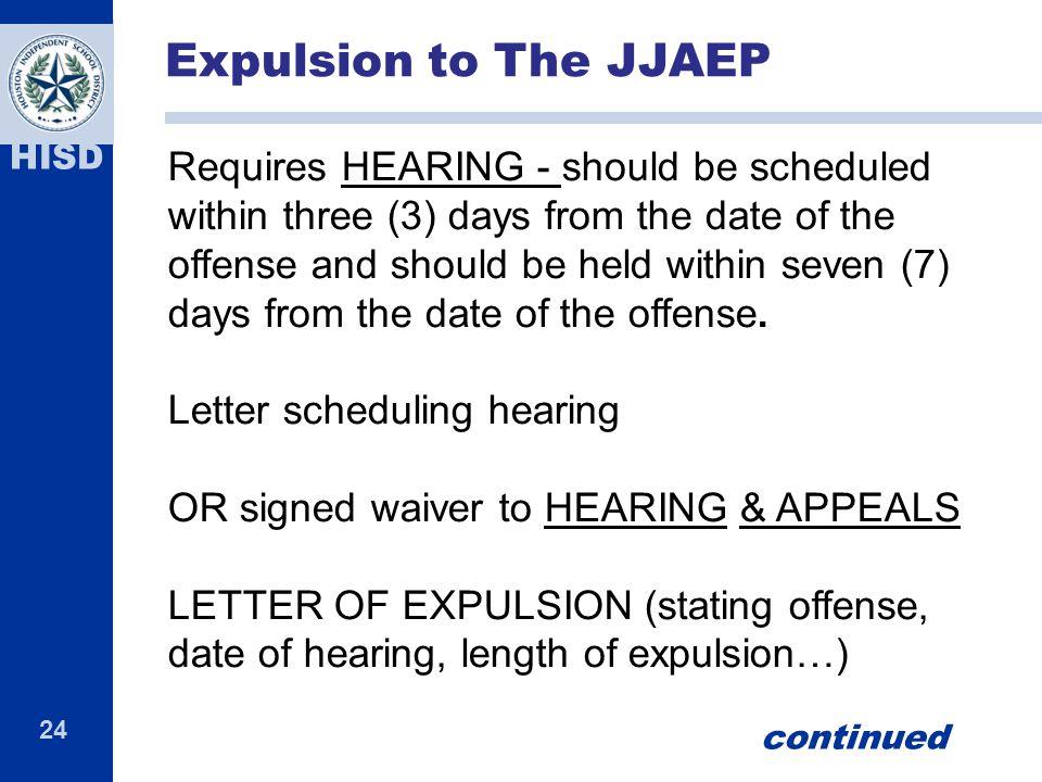 Expulsion to The JJAEP