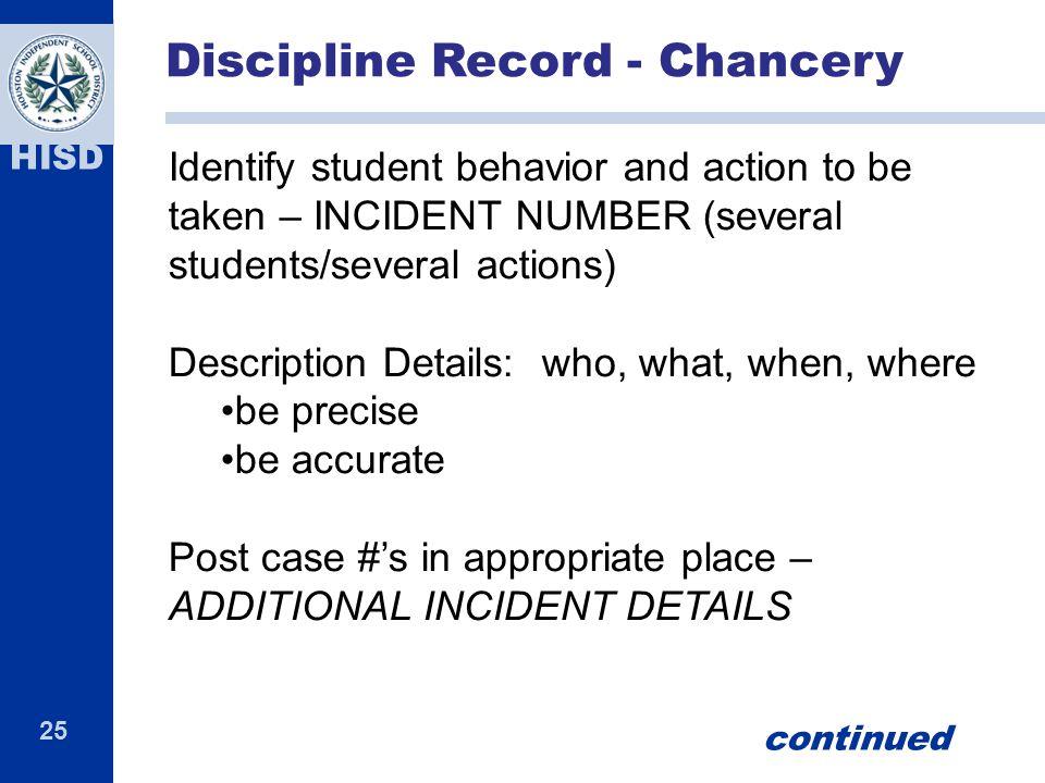 Discipline Record - Chancery