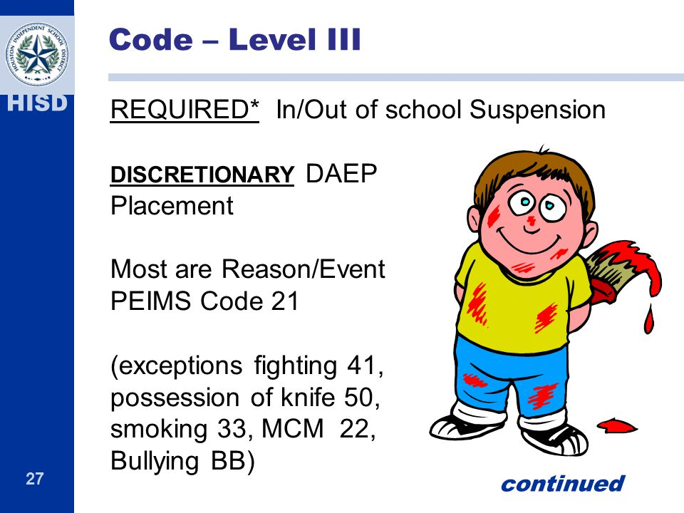 Code – Level III REQUIRED* In/Out of school Suspension Placement