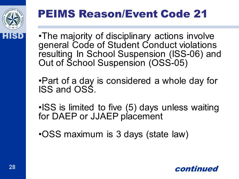 PEIMS Reason/Event Code 21