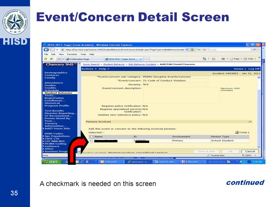 Event/Concern Detail Screen
