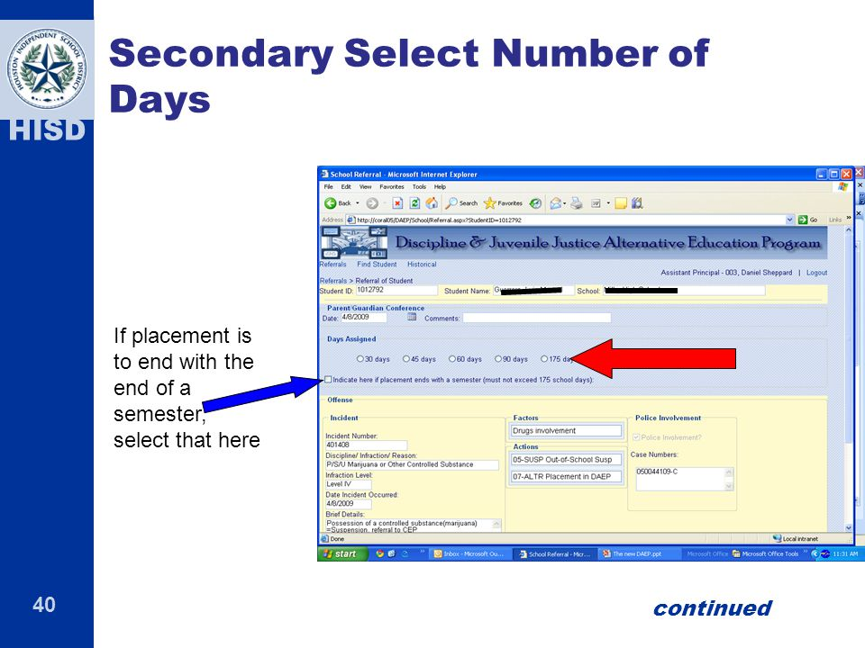 Secondary Select Number of Days