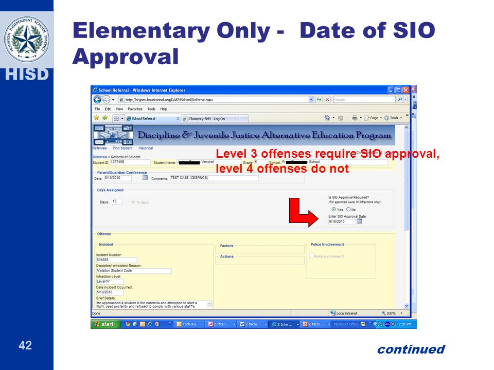 Elementary Only - Date of SIO Approval