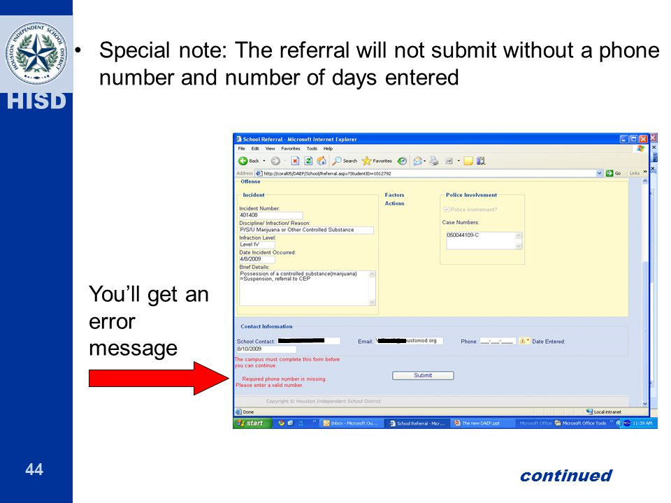 You'll get an error message