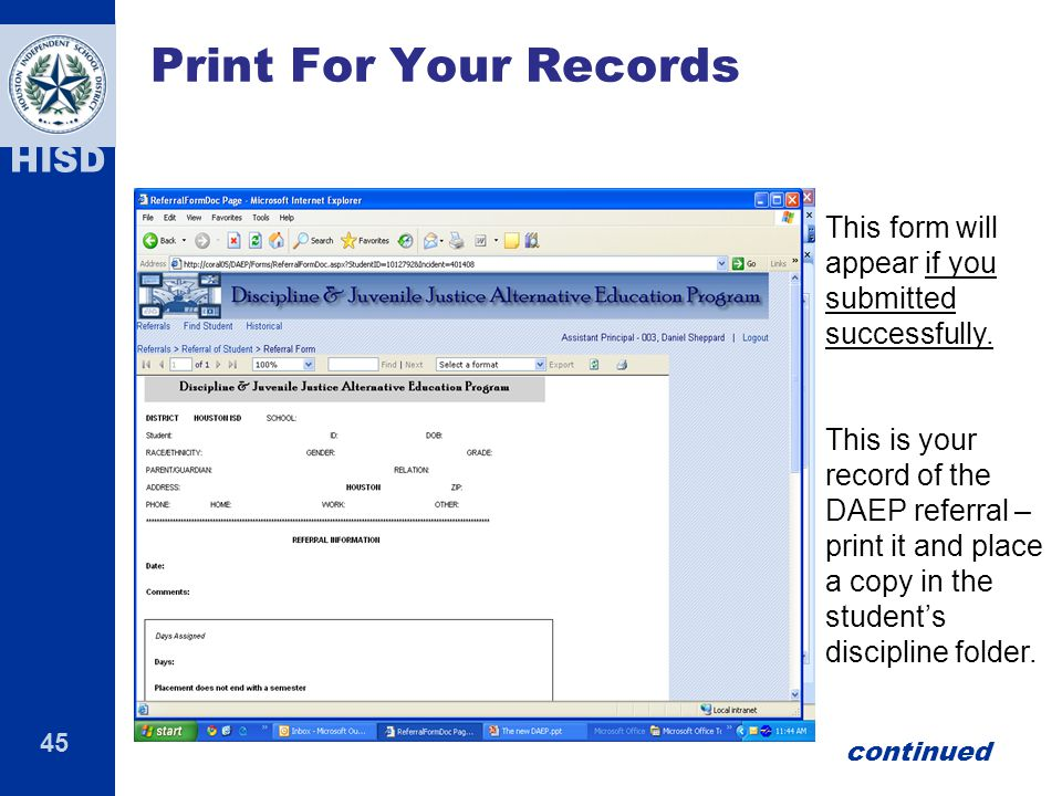 Print For Your Records This form will appear if you submitted successfully.