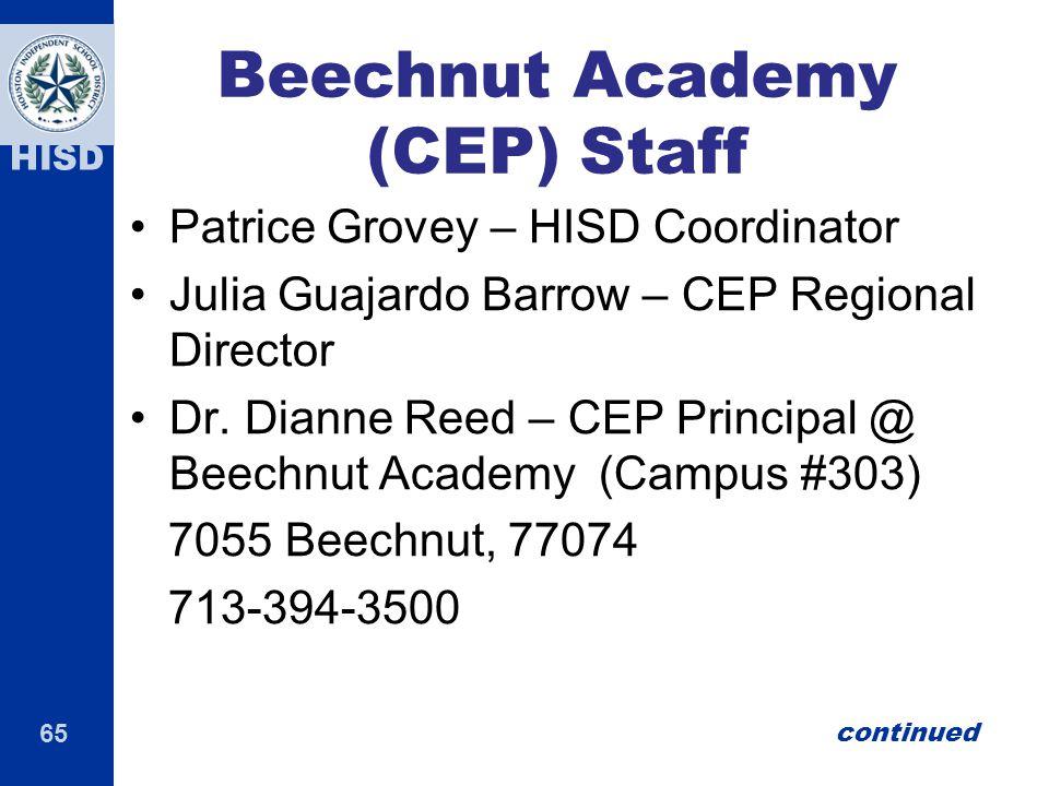 Beechnut Academy (CEP) Staff