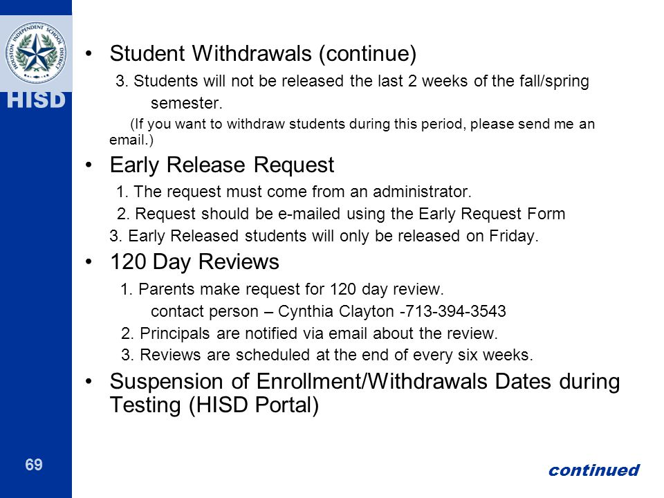 Student Withdrawals (continue)