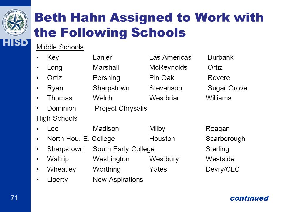 Beth Hahn Assigned to Work with the Following Schools