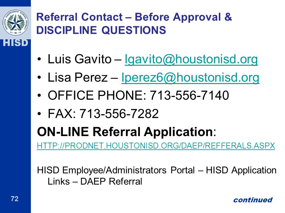 Referral Contact – Before Approval & DISCIPLINE QUESTIONS