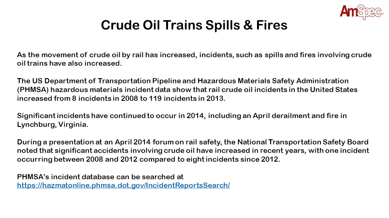 Crude Oil Trains Spills & Fires