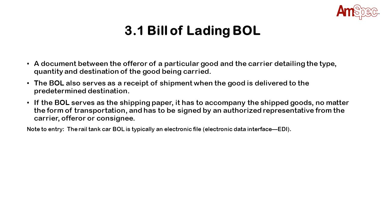 3.1 Bill of Lading BOL