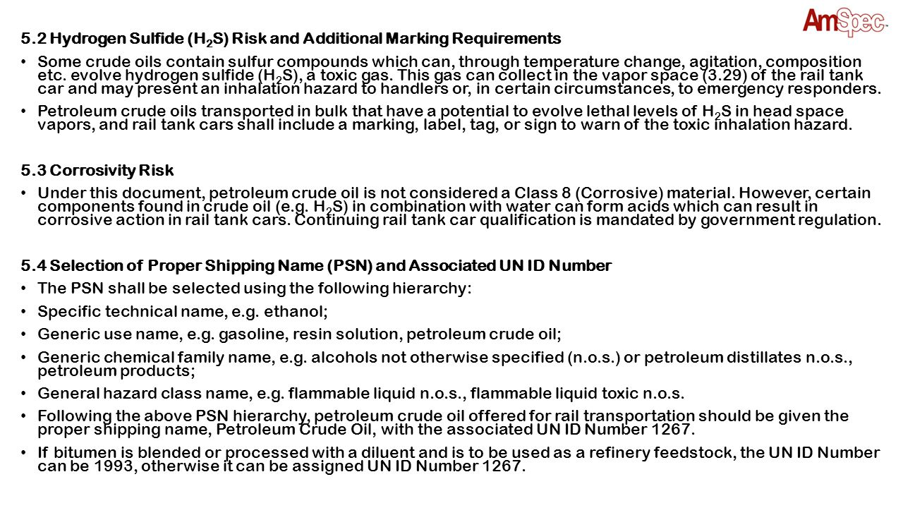 5.2 Hydrogen Sulfide (H2S) Risk and Additional Marking Requirements