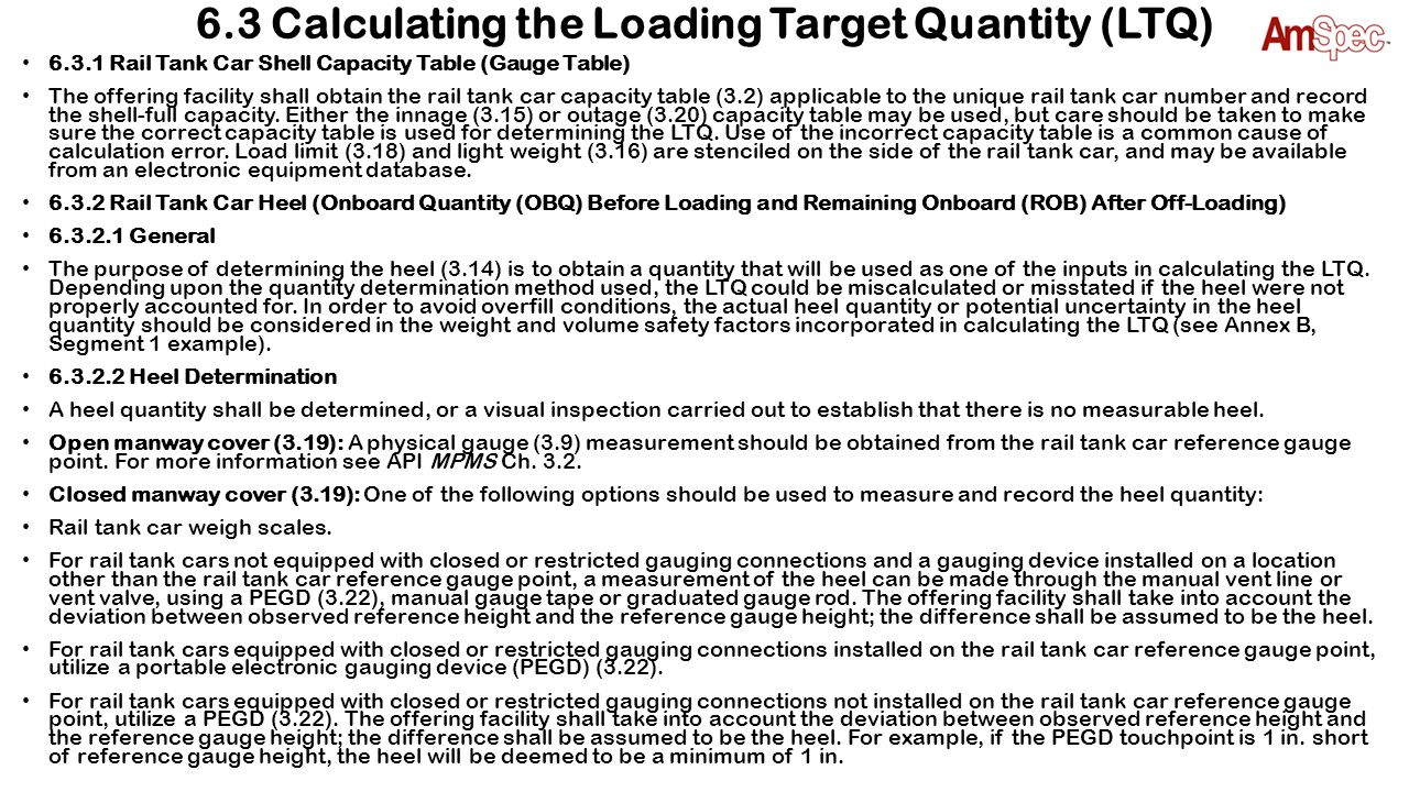 6.3 Calculating the Loading Target Quantity (LTQ)