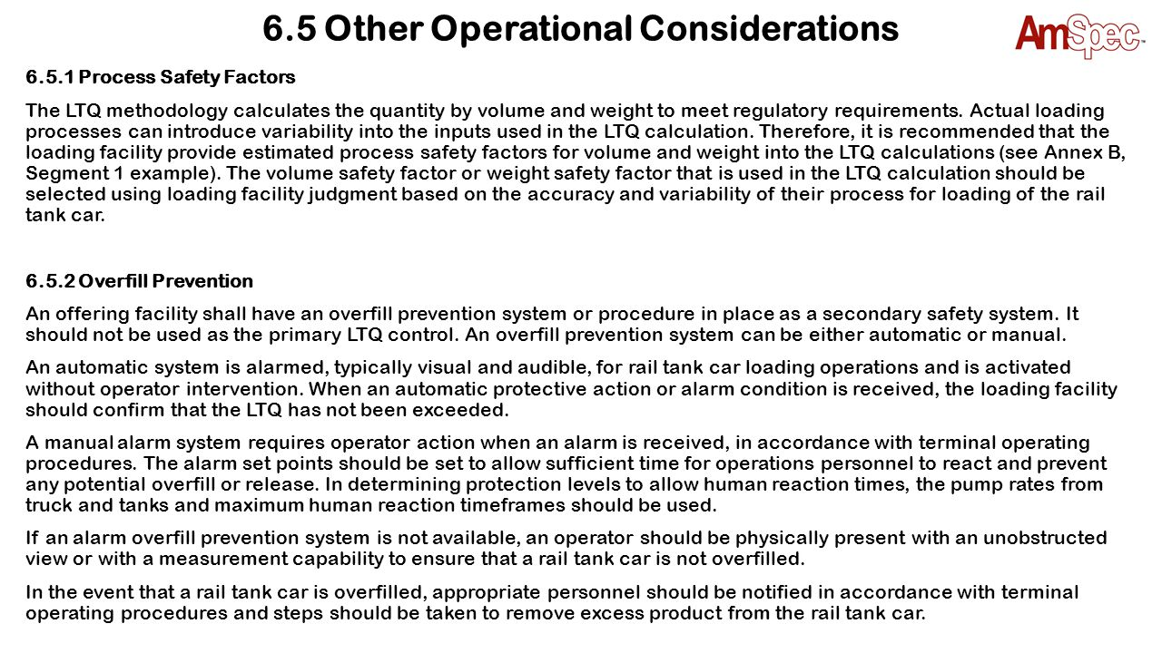 6.5 Other Operational Considerations