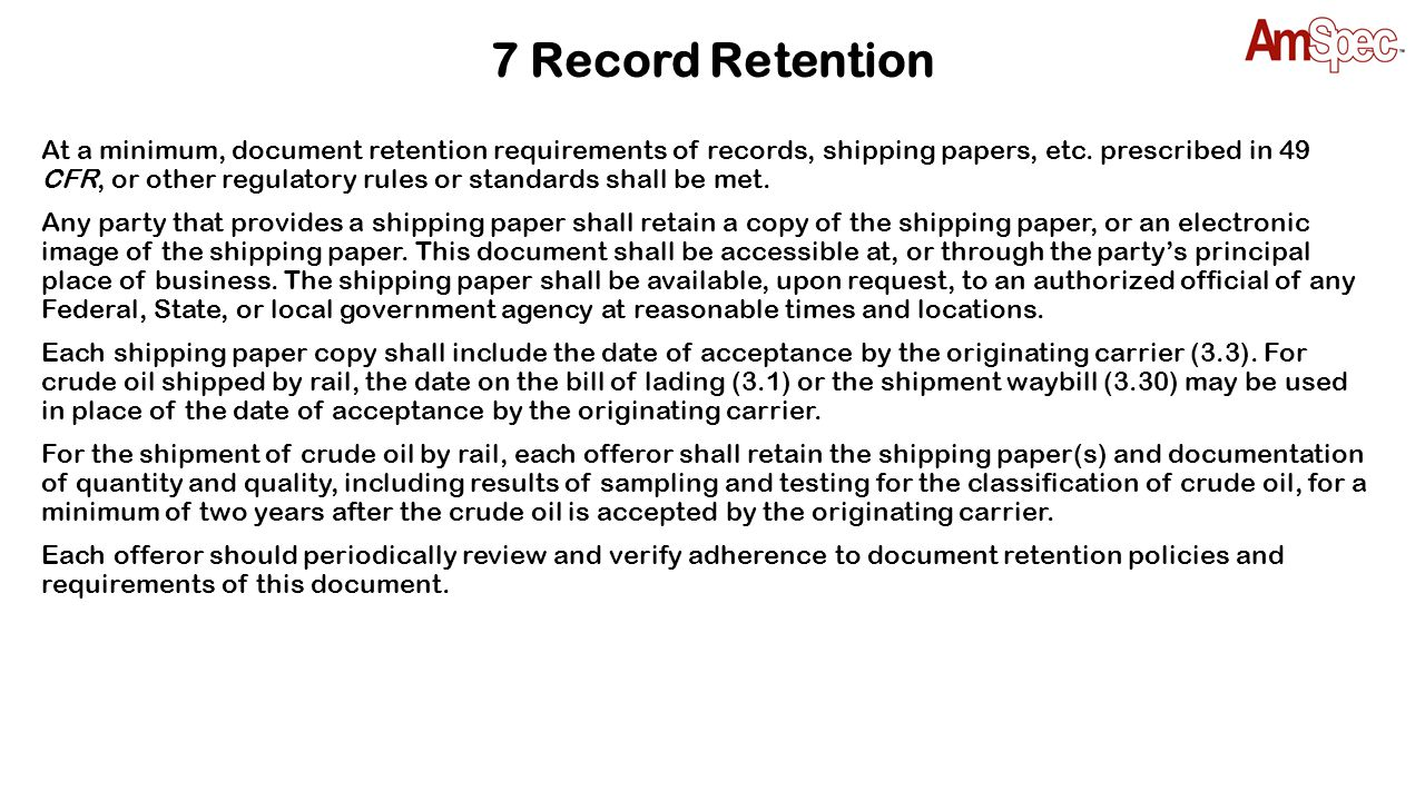 7 Record Retention