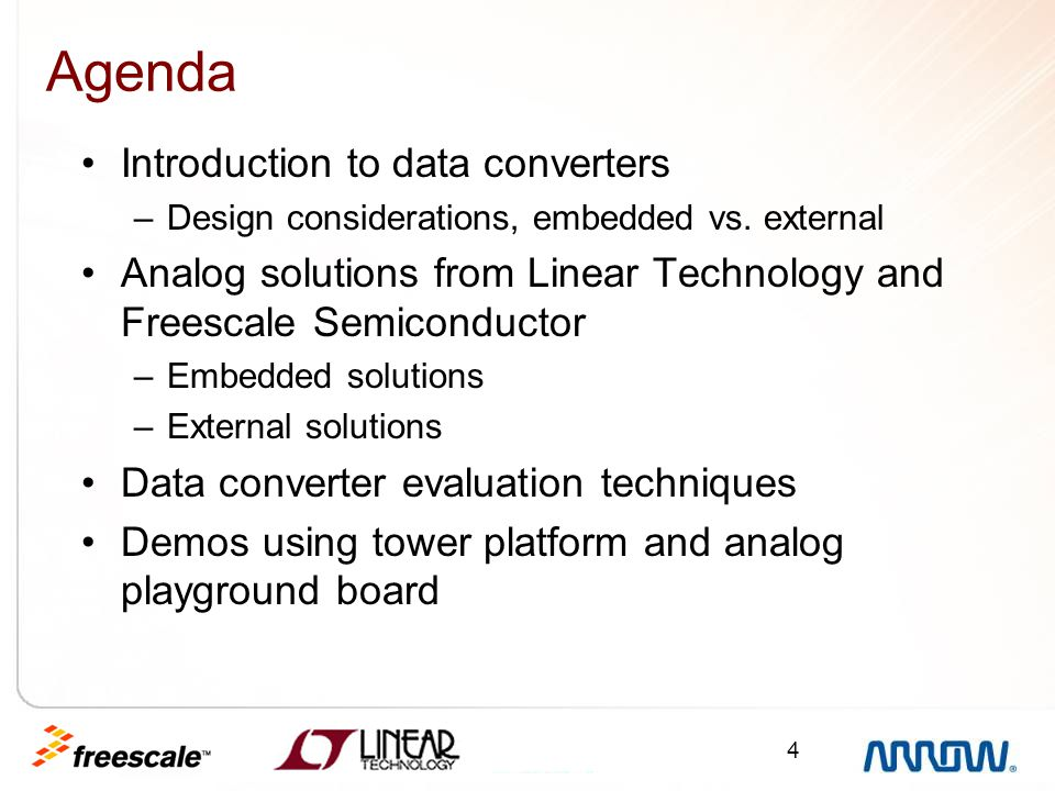 Agenda Introduction to data converters