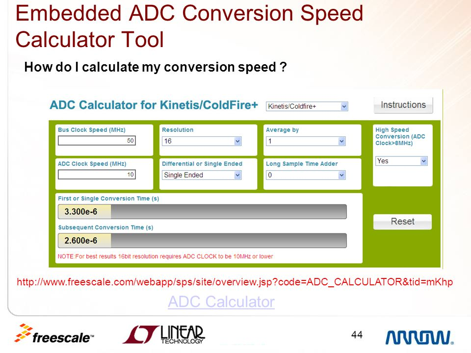 Embedded ADC Conversion Speed Calculator Tool