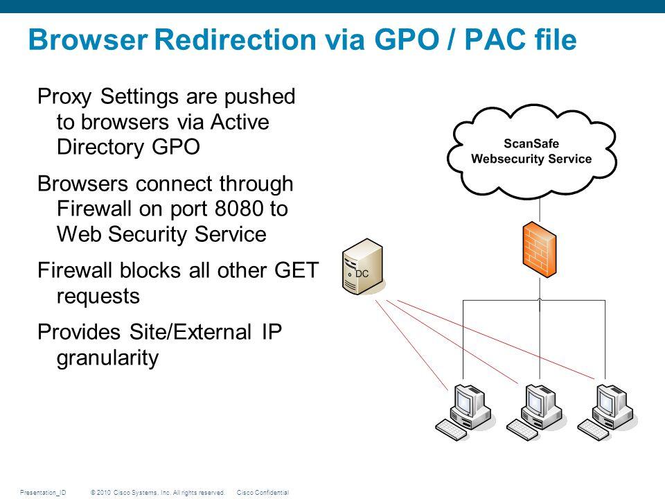 Browser Redirection via GPO / PAC file