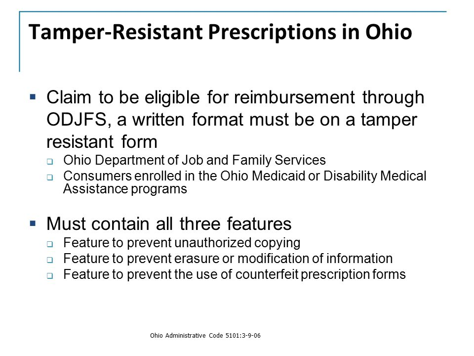 Tamper-Resistant Prescriptions in Ohio