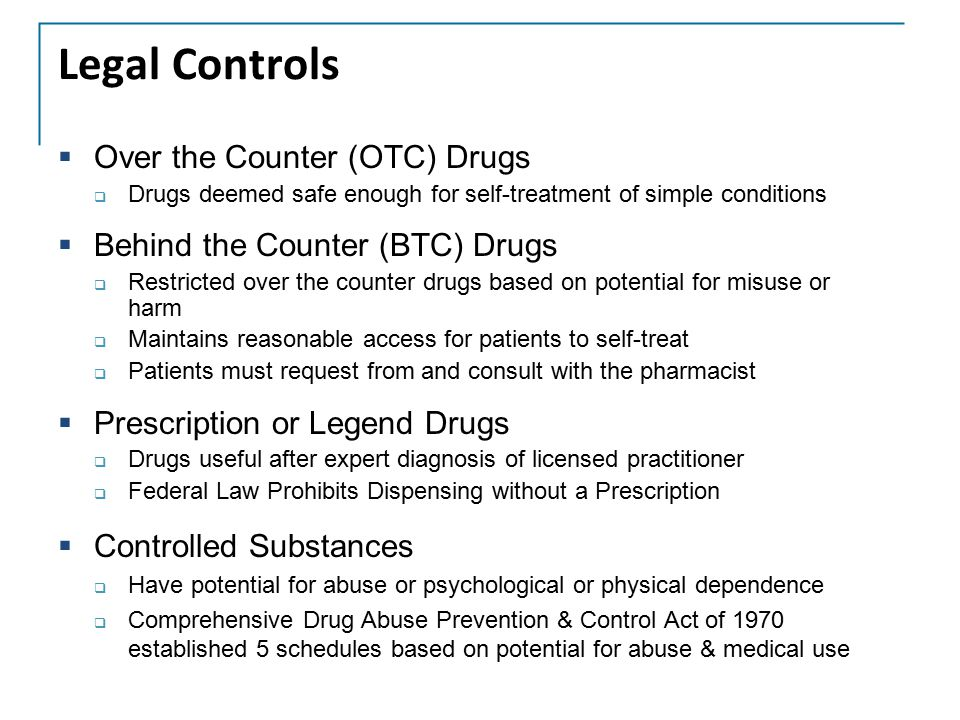 Legal Controls Over the Counter (OTC) Drugs