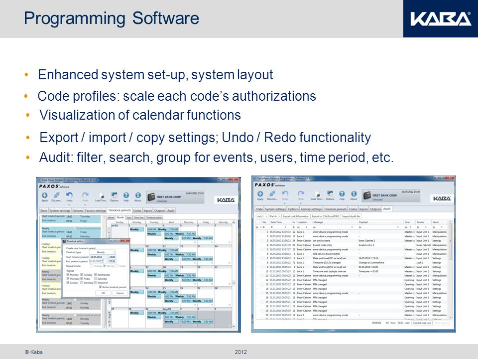 Programming Software Enhanced system set-up, system layout