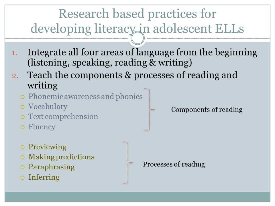 Research based practices for developing literacy in adolescent ELLs